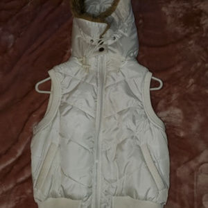 forever Jackets & Coats - FOREVER White Puffy Vest WITH Brown Fluffy hood